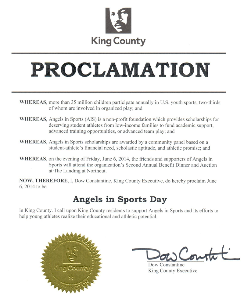 KING County recognition for Angels In Sports Day